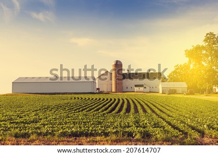 American Countryside Farm With Blue Sky - stock photo