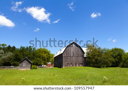American Countryside Landscape With Farm - stock photo