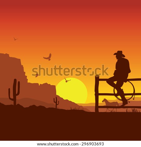 American Cowboy on wild west sunset landscape in the evening.Raster - stock photo