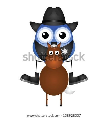 American Cowboy sat on his horse isolated on white background - stock photo