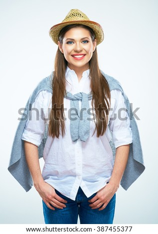 American cowboy style portrait of young smiling woman. Beautiful girl isolated portrait. - stock photo