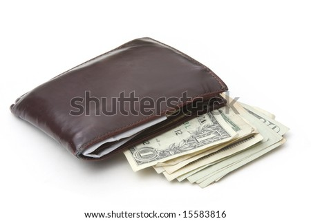 American dollar and leather wallet isolated on white background - stock photo