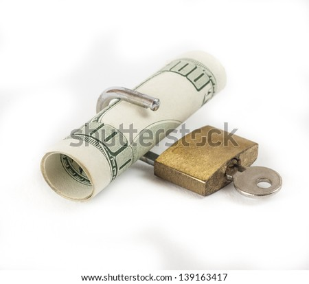 American dollars cash with padlock isolated on a white background concept locked financial security - stock photo
