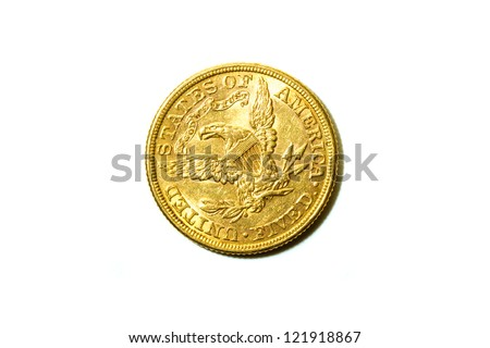 American Dollars Gold coin - stock photo