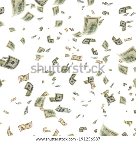 American dollars in a lot of floating in the air. - stock photo