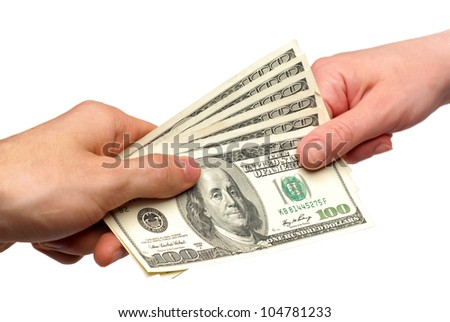 American dollars in the hands - stock photo