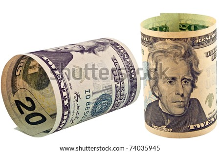 American dollars rolled up isolated on the white - stock photo
