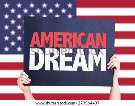 American Dream card with USA background - stock photo