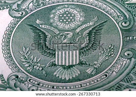 American Eagle Great Seal from the back of a one dollar bill - stock photo