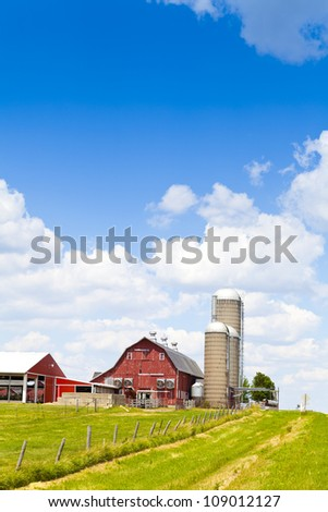 American Farm in hot summer day - stock photo