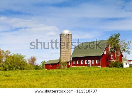 American Farm With Blue Sky - stock photo