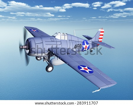 American fighter plane of World War II Computer generated 3D illustration - stock photo