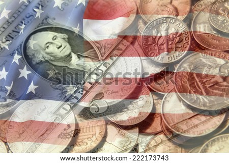 American flag and currency composite - stock photo