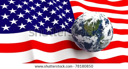 American flag background, Earth in foreground showing country of The United States of America through cloud cover - stock photo