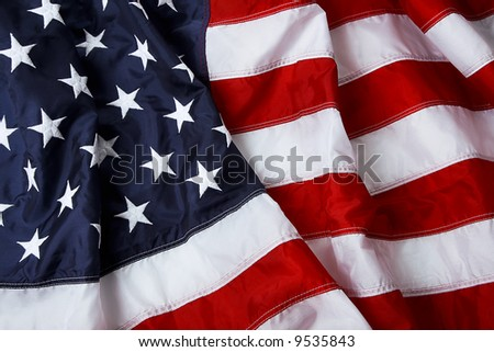 American flag background - shot and lit in studio - stock photo