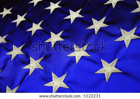 American Flag backlit blue with white stars - stock photo