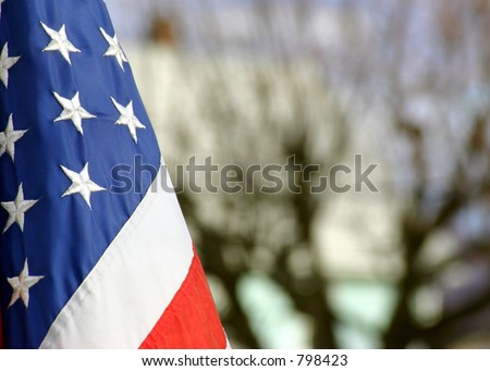 american Flag (blurred background) 4th of July - stock photo
