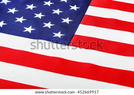 American flag Close-up. focus on flag stars - stock photo