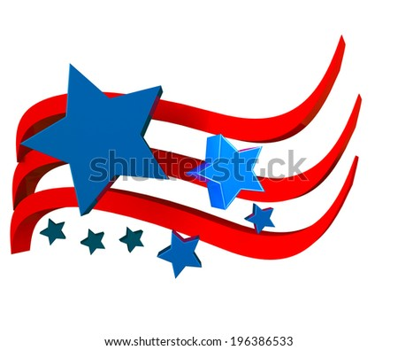 American flag 3D with stars icon background - stock photo