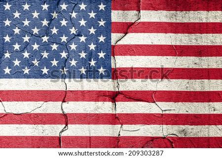 American flag damaged background - stock photo