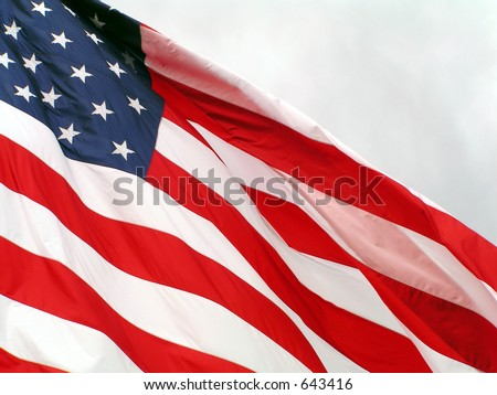 american flag flying in the sky - stock photo
