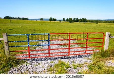American Flag Gate, High Allegheny - stock photo