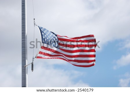 American flag halfway down - stock photo