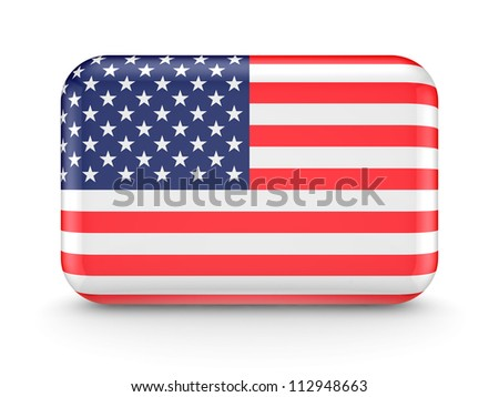 American flag icon.Isolated on white background.3d rendered. - stock photo