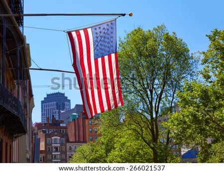 American flag in Boston downtown Massachusetts USA - stock photo