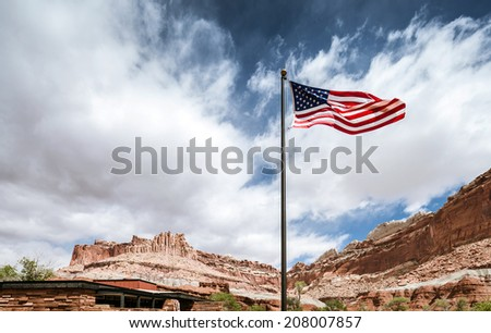 American flag in Capitol Reef National park - stock photo