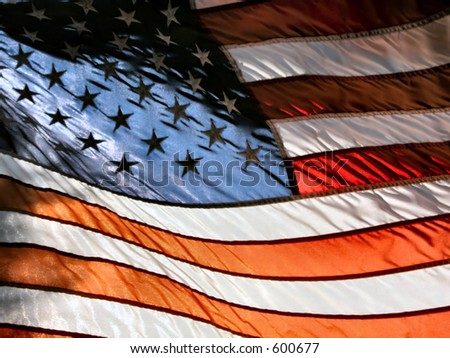 American Flag in sunset light. - stock photo