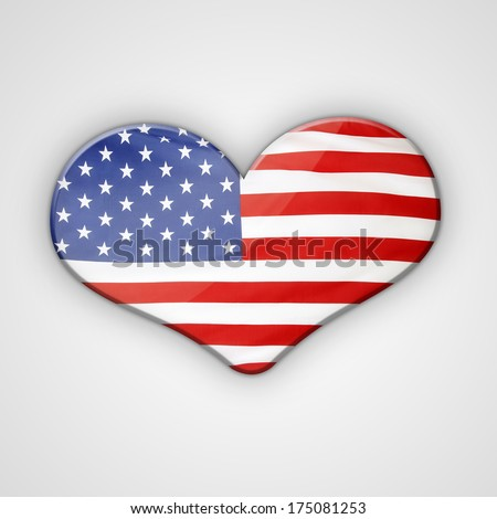 American flag in the shape of heart - stock photo