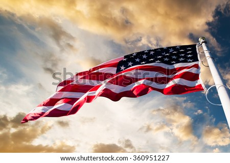 american flag in the sky - stock photo