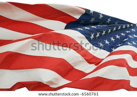 American flag isolated on white background - stock photo