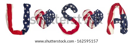 American flag isolated on white background, heart shape, letters U, S, A - stock photo