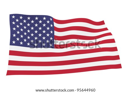 American flag isolated on white background with clipping path - stock photo