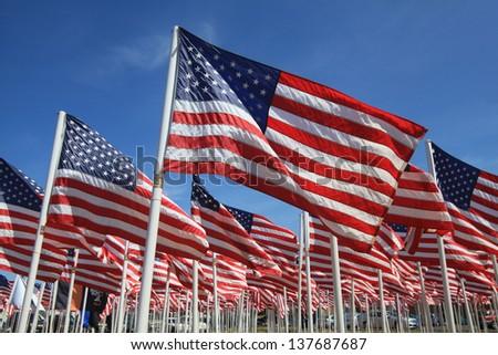 American flag memorial on the Oregon Coast - stock photo