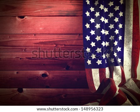 American Flag on a Background of Wooden Planks. Grunge Background. - stock photo