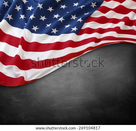 American flag on a blackboard - stock photo