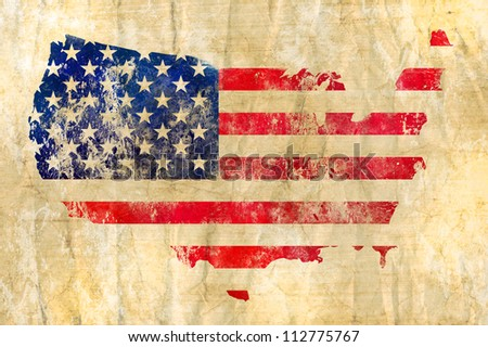 American flag on a map of the USA - stock photo