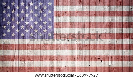 American flag on a weahtered wooden background, Composite in vintage look - stock photo