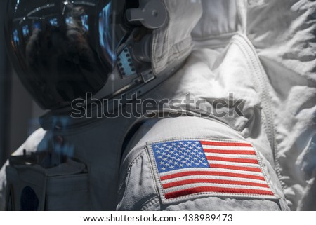 American Flag on Astronaut space suit shoulder - stock photo