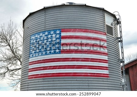 American Flag on Grain Silo - stock photo