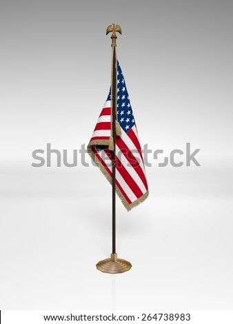 American Flag on stand isolated on white background - stock photo