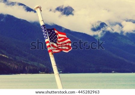 American flag on the boat - stock photo