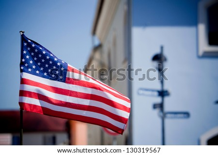 American flag on the historic square - stock photo