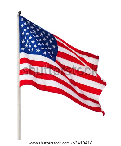 American flag over white background. - stock photo