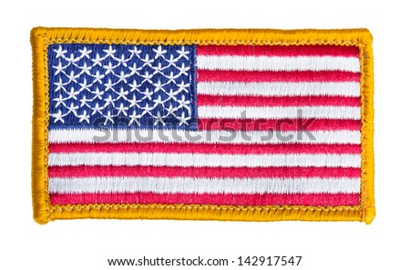 American flag patch isolated on white background - stock photo