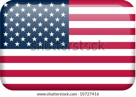 American flag rectangular button.  Part of set of country flags all in 2:3 proportion with accurate design and colors. - stock photo