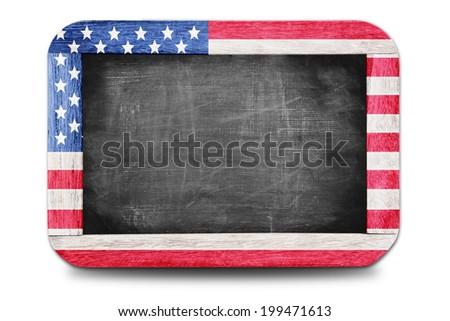 American flag  soccer 2014 framed of Small chalkboard - stock photo